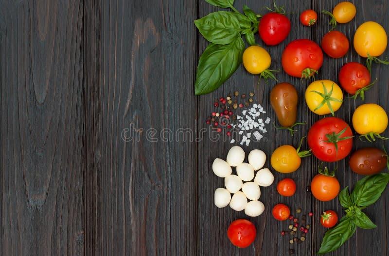 西红柿、无盐干酪、蓬蒿叶子、香料和橄榄油从上面 意大利caprese沙拉食谱成份 免版税库存图片