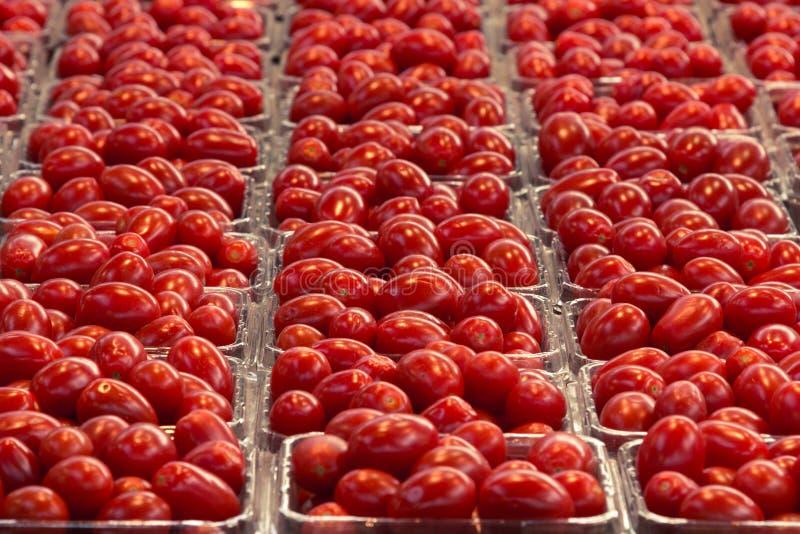 西红柿的图片准备好在一个市场上的待售在小篓 免版税图库摄影