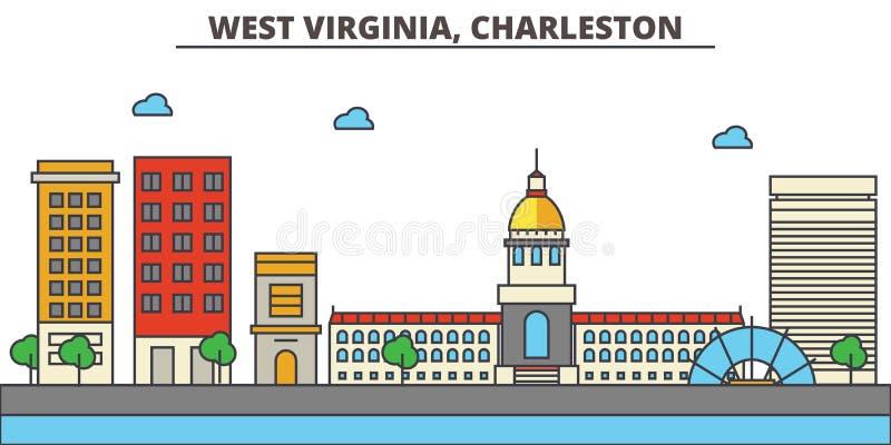 西维吉尼亚,查尔斯顿 背景城市设计您地平线的向量 皇族释放例证