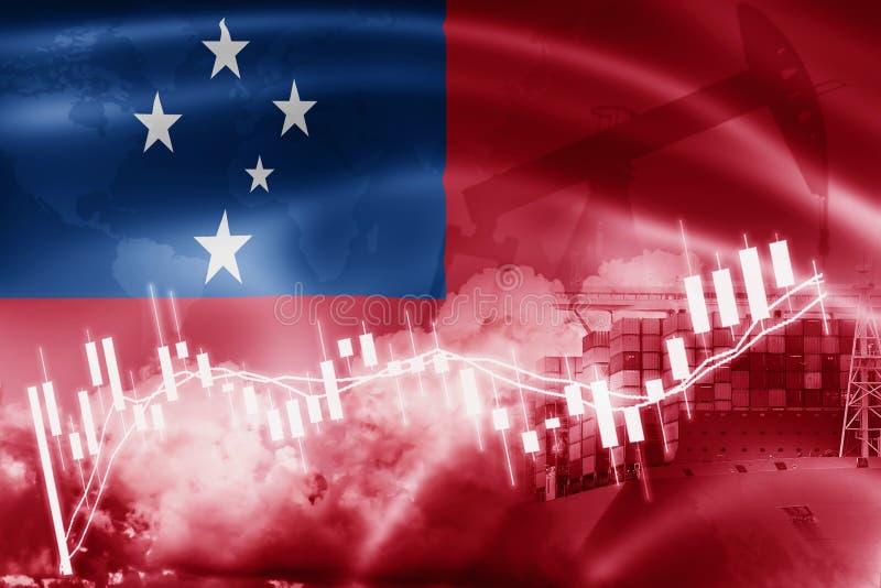 西萨摩亚旗子、股票市场、交换经济和贸易,石油生产,在出口和进口业的集装箱船和 库存照片
