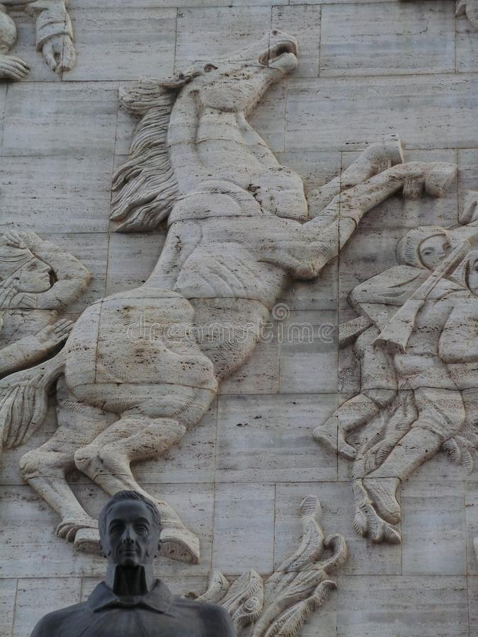 西蒙・波利瓦和马,独立纪念碑, Los Proceres,加拉加斯,委内瑞拉雕象  免版税库存图片