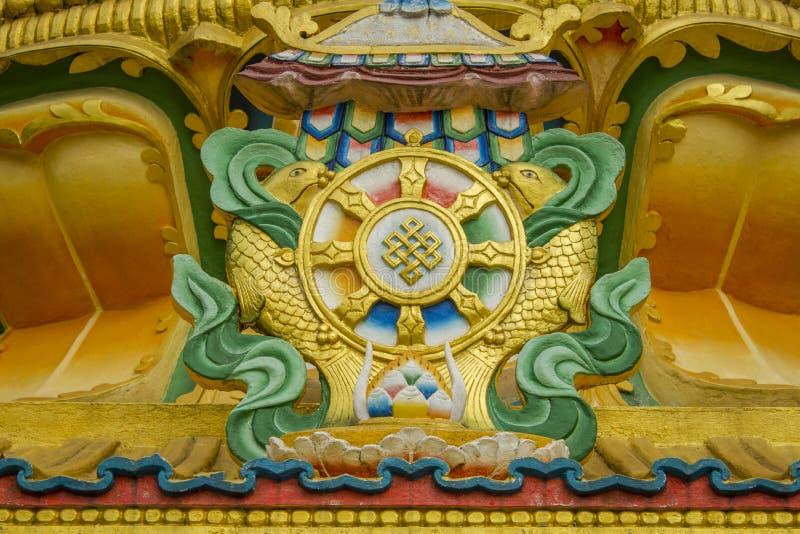 西藏佛教寺庙的一个金黄绿色图象在寺庙的墙壁上的 免版税库存图片