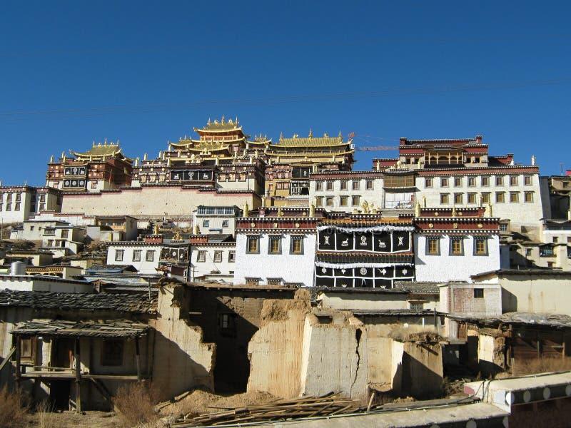 西藏修道院在Zhongdian 库存照片