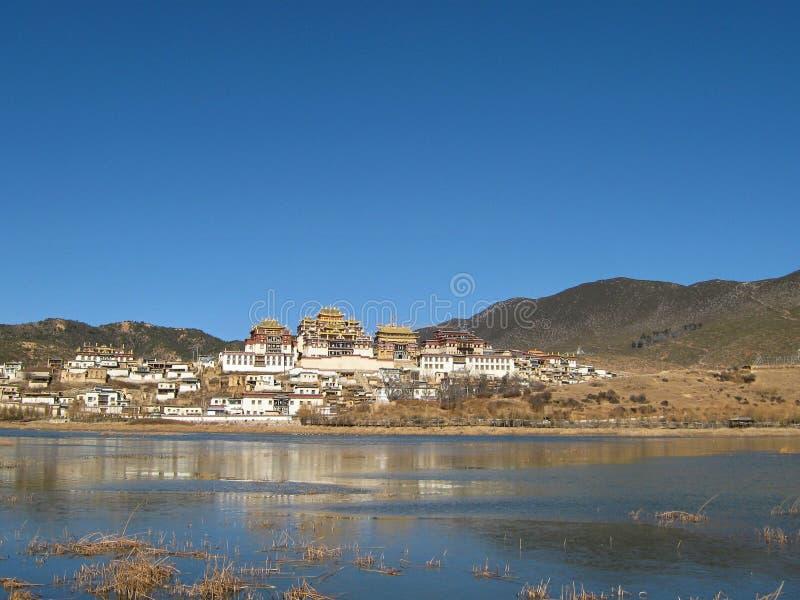 西藏修道院在Zhongdian 库存图片