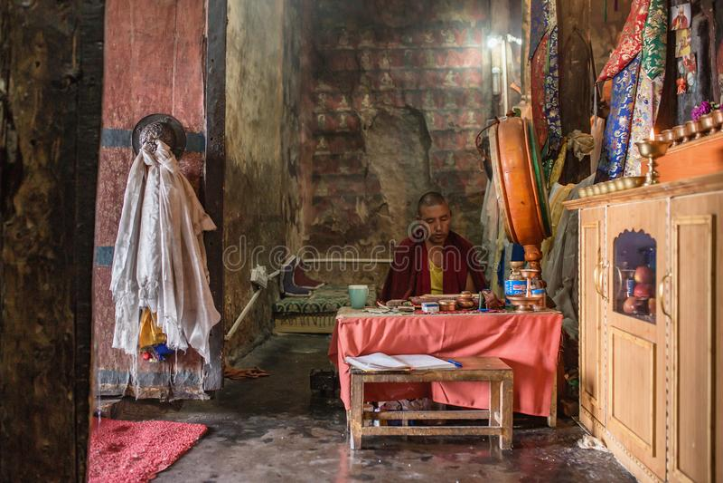 西藏和尚在Thiksey gompa修道院里祈祷在拉达克,印度 免版税库存图片