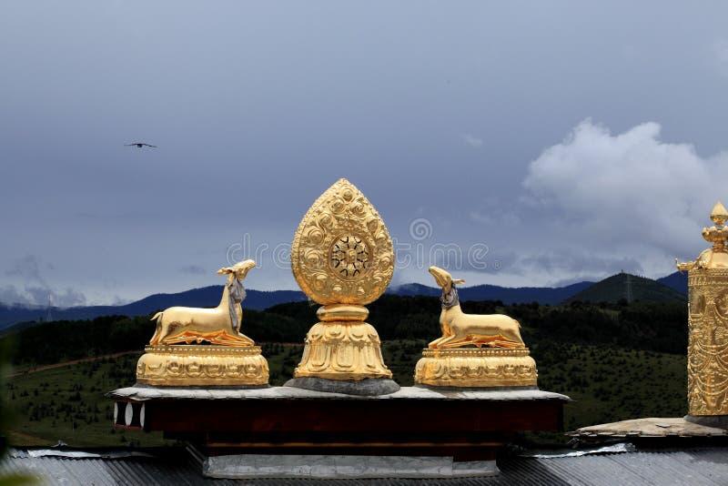 西藏寺庙屋顶 免版税库存照片