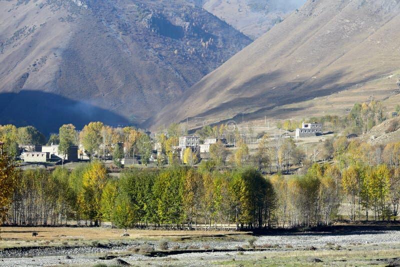 西藏村庄 免版税库存照片