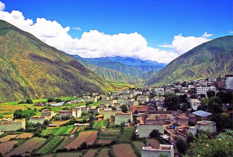 西藏村庄 免版税库存图片
