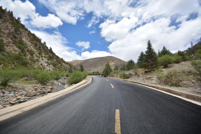 西藏柏油路 免版税库存图片