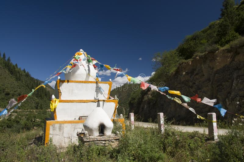 西藏白色塔 库存照片