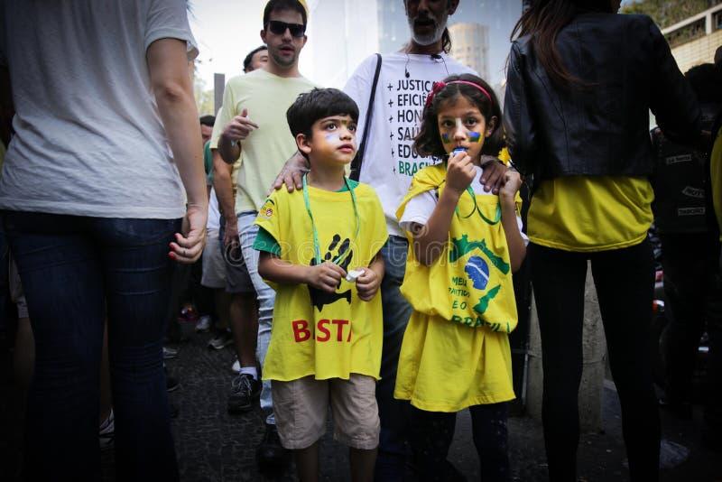 巴西街道抗议保罗4月12日2015年São 免版税图库摄影