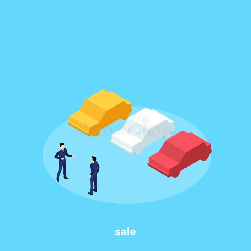 西装和汽车的,汽车推销员人 向量例证