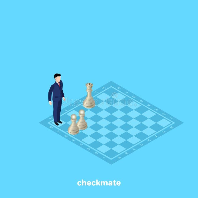 西装的一个人在一个表面无光泽的位置的一杆棋枰站立 库存例证
