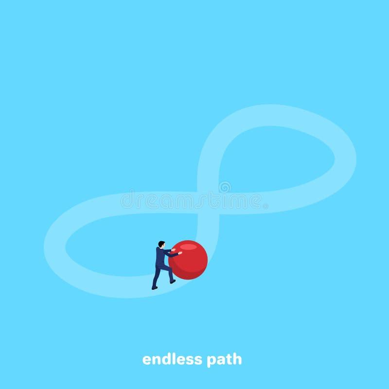 西装的一个人在无限的标志滚动一个大红色球 向量例证