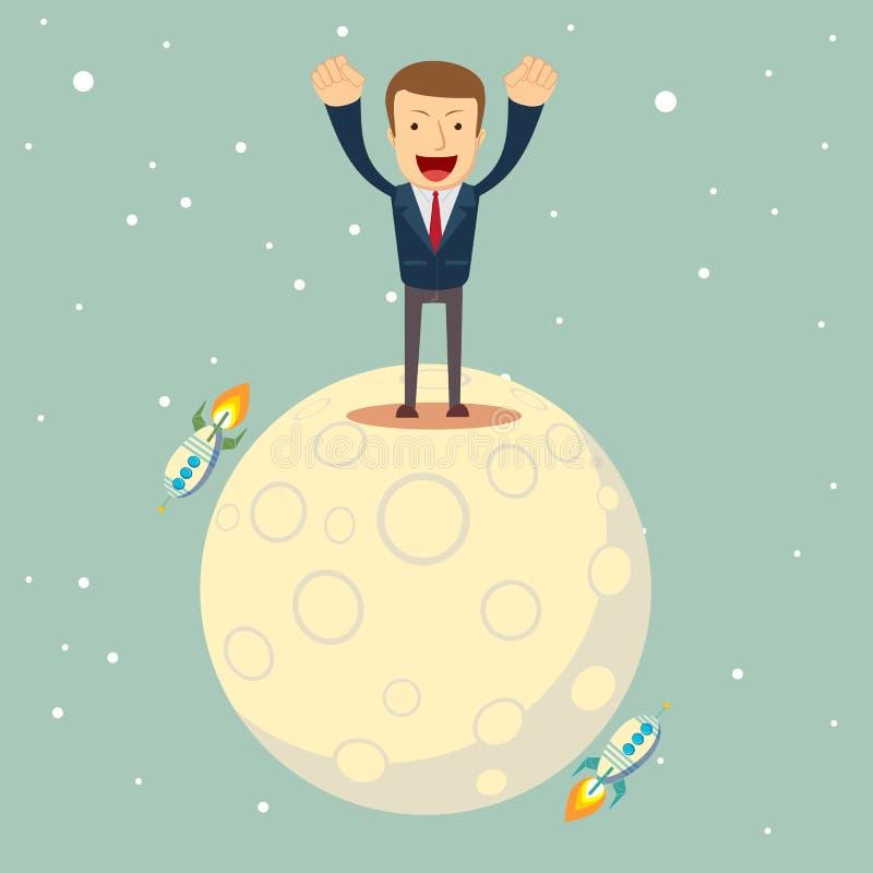 西装的一个人征服了月亮 向量例证