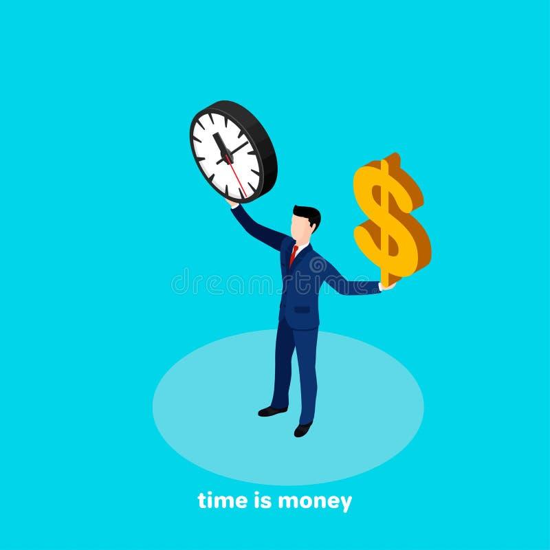 西装的一个人拿着一个时钟,并且美元的符号他的手 库存例证
