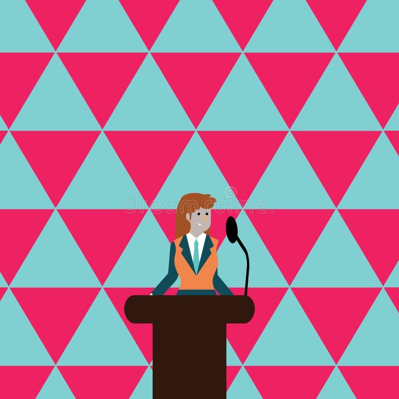 西装的妇女站立在五颜六色的指挥台讲台照片后和发表演讲关于无线话筒 女实业家 皇族释放例证