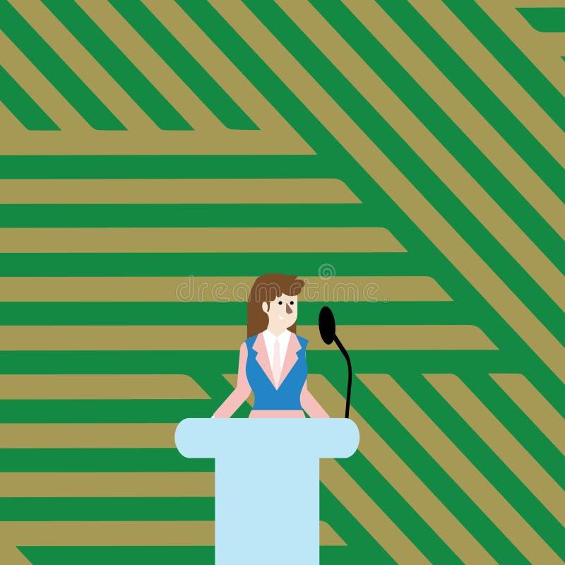 西装的妇女站立在五颜六色的指挥台讲台照片后和发表演讲关于无线话筒 女实业家 向量例证