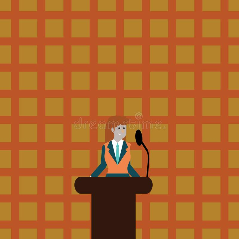 西装的妇女站立在五颜六色的指挥台讲台照片后和发表演讲关于无线话筒 女实业家 库存例证