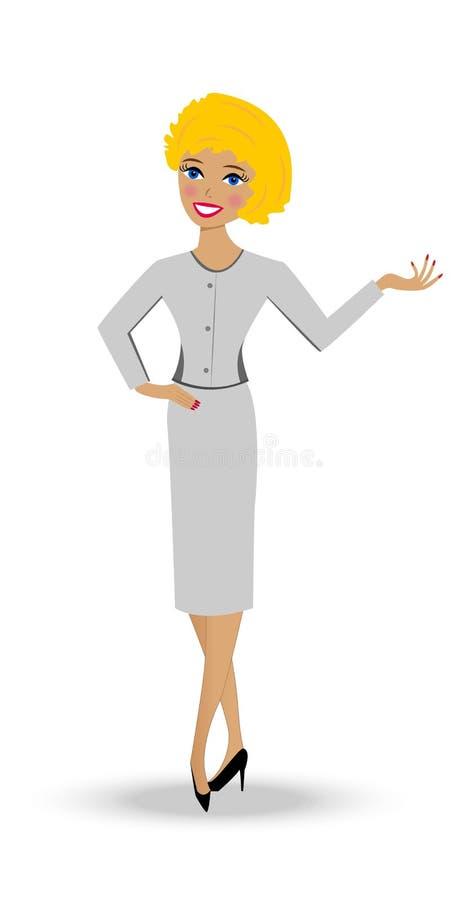 西装的美丽的苗条妇女 库存例证