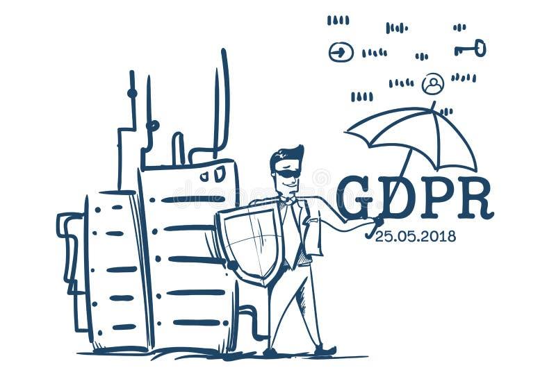 西装盾举行伞的人主持一般数据保护章程GDPR主服务器治安警卫的 向量例证