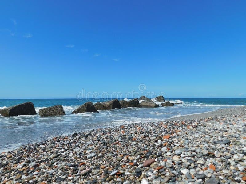 西西里人的海一次美好的瞥见  库存图片