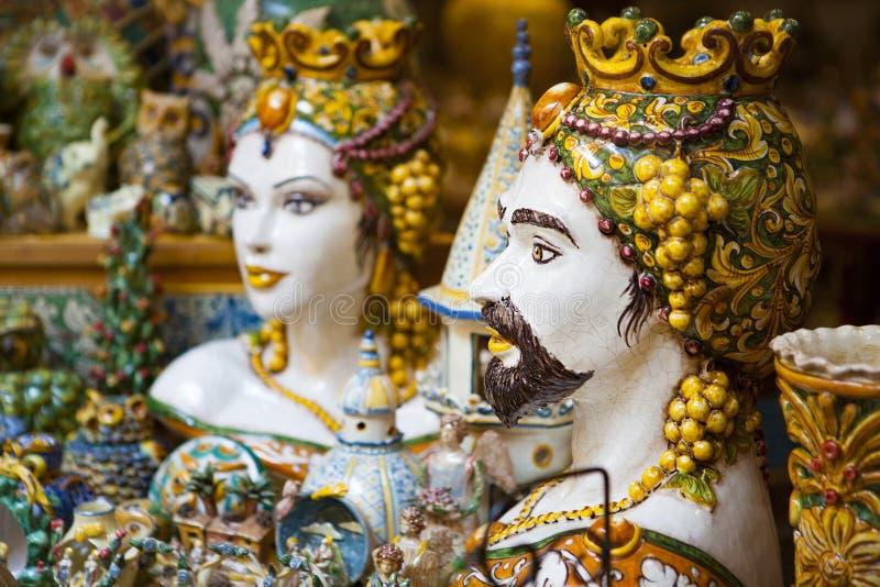 西西里人的陶瓷艺术 摩尔人头 免版税库存图片