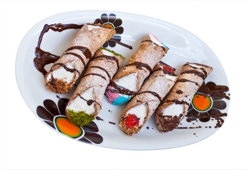 西西里人cannoli di pastry的ricotta 库存照片