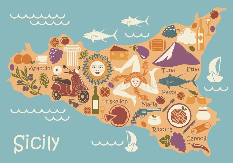 西西里岛的风格化地图有传统标志的 向量例证