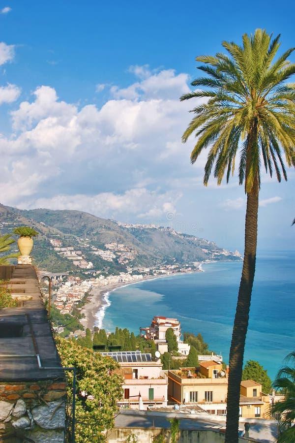 西西里岛taormina视图 库存照片
