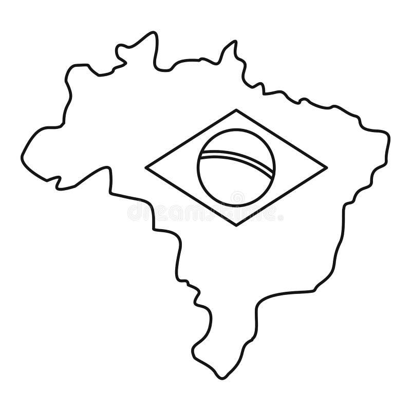 巴西象,简单的样式地图  库存例证