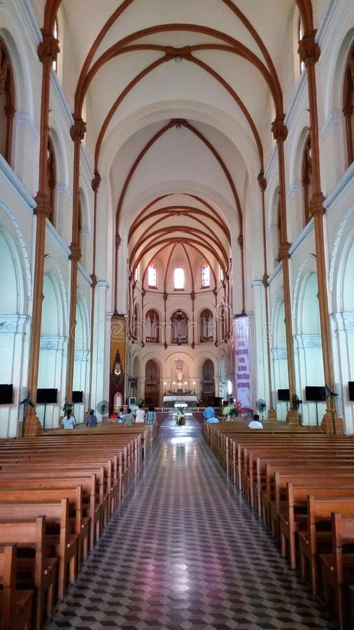 西贡巴黎圣母院是克里斯教会在胡志明市的中心 库存图片