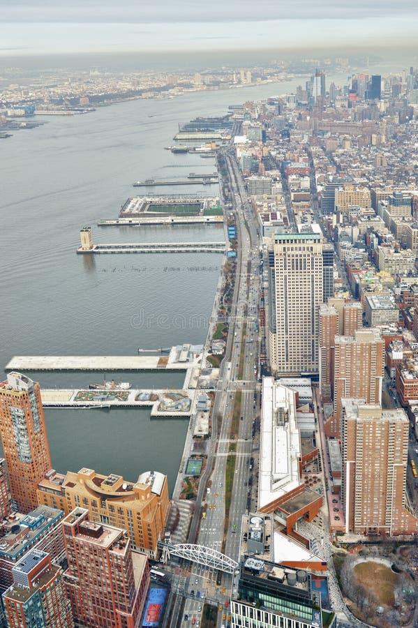 西边(曼哈顿) -鸟瞰图 库存图片