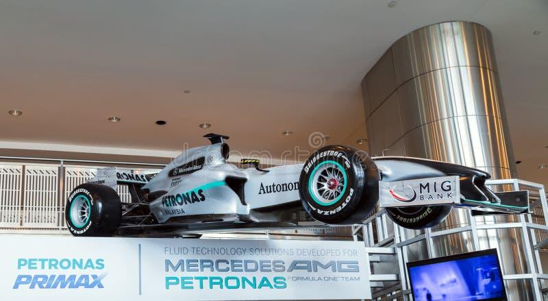 默西迪丝在天然碱马来西亚大奖赛的GP天然碱F1队 免版税库存照片