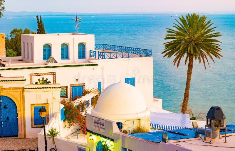 西迪布赛义德,有传统突尼斯建筑学的famouse村庄 库存照片