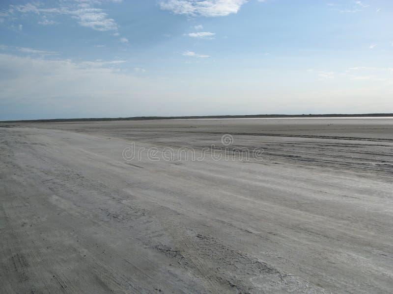 西部哈萨克斯坦 赛跑的最平的轨道在汽车在沙漠 免版税库存图片