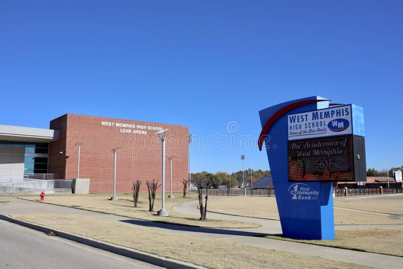 西部孟菲斯阿肯色高中,西部孟菲斯, AR 库存图片