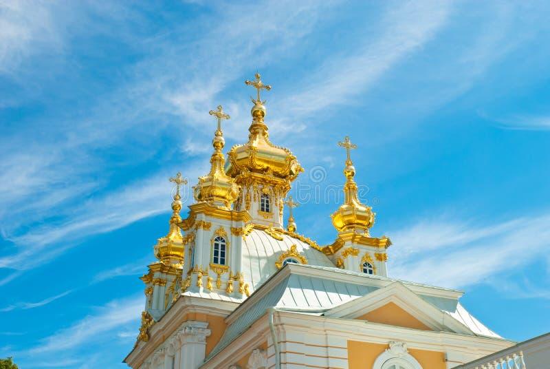 西部教堂在Peterhof公园 库存照片
