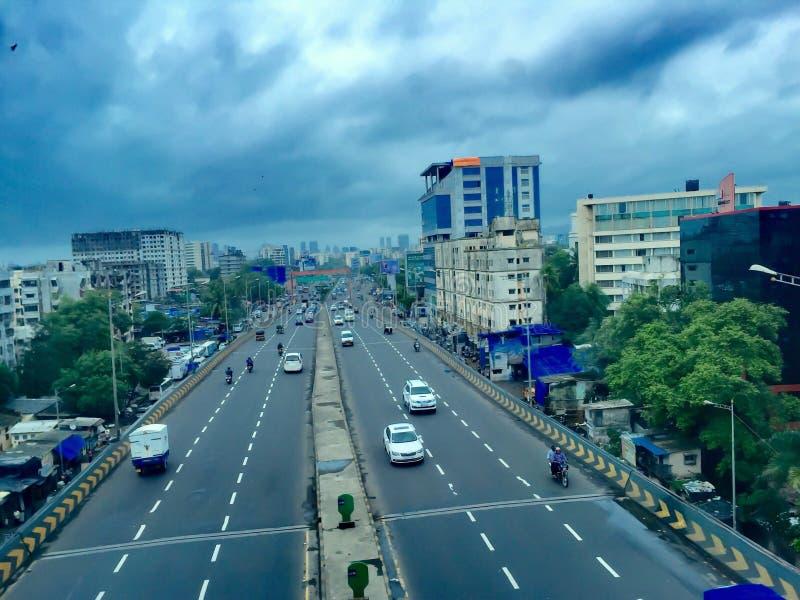 西部明确高速公路-孟买,印度 免版税库存图片