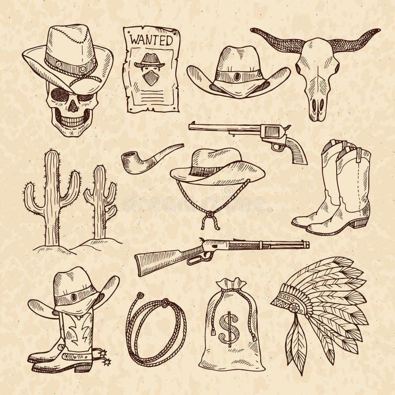 西部标志 牛仔、被设置的枪、交谊厅和其他狂放的西部图片 传染媒介手拉的图片 库存例证