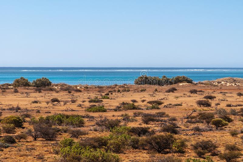 西部海角, Exmouth澳大利亚贫瘠风景  库存图片