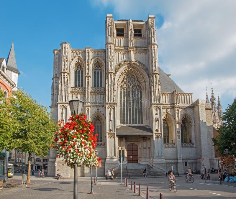 从西部的鲁汶-彼得斯哥特式大教堂 图库摄影