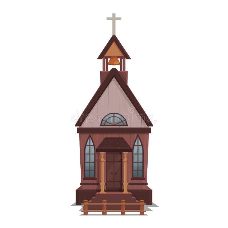 西部镇的在白色背景隔绝的教会比赛水平的和背景 修造的设计-狂放的西部 库存例证