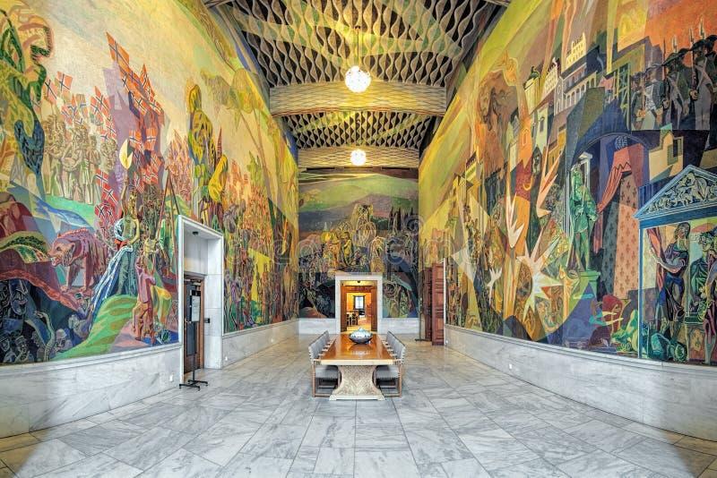 西部画廊Storstein室内部在奥斯陆香港大会堂,挪威 库存图片