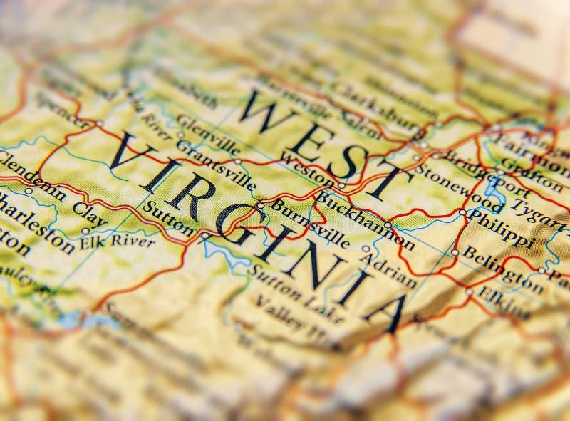 西部Wirginia关闭地理地图  库存图片