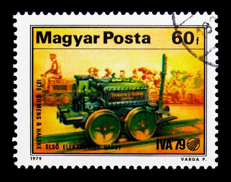 西门子第一个电力机车,国际运输 免版税图库摄影