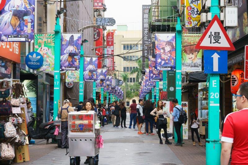 西门町街市在台北,台湾 免版税库存照片