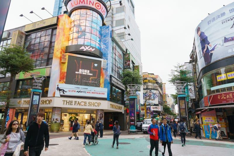 西门町街市在台北,台湾 免版税图库摄影