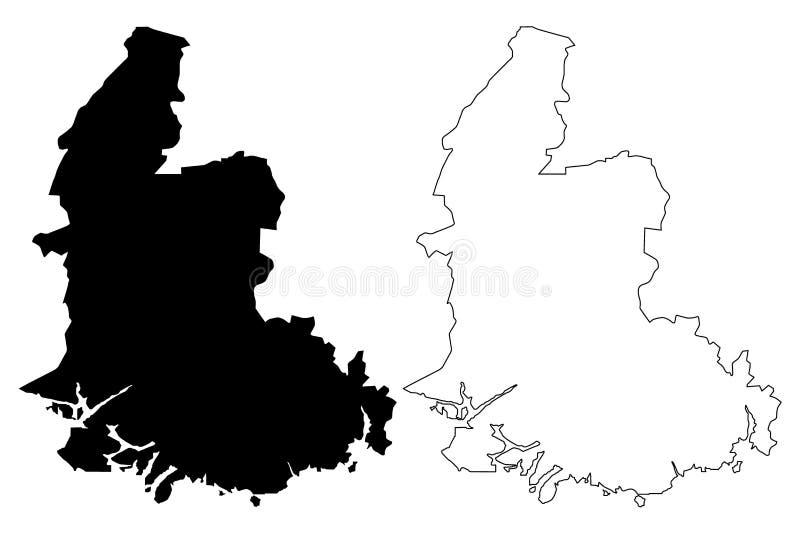 西阿格德尔郡地图传染媒介 库存例证