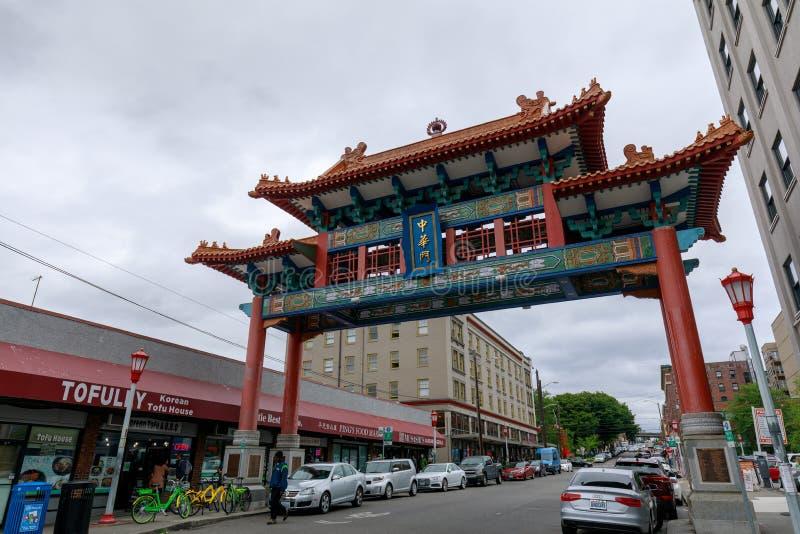 西雅图唐人街古迹门结构 图库摄影
